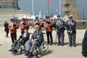 local pipers playing to welcome out Veterans to Canada House